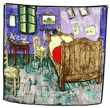 """Luxurious 100% Silk Twill Scarf w/ Van Gogh's Oil Painting """"Vincent's Bedroom"""