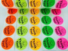 "1000 BIG THANK YOU LABEL SMILEY 2"" STICKER Starburst Colors NEON FLUORESCENT NEW"