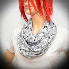 Black & White infinity scarf with newspaper print