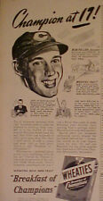 1941 Bob Feller Cleveland Indians Baseball Wheaties Cereal Oddball Sports Art Ad