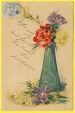 cpa Illustration Litho Chromo VASE FLEURS FLOWERS IRIS ou OEILLETS