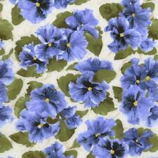 Debbie Beave Lovely Blue Cream Green Pansy Tone Floral Quilt Fabric 1444--003 3C