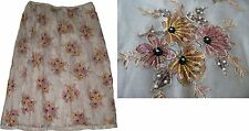 NWT POLECI silk organza S skirt beaded sequins embroidered party wedding  luxury