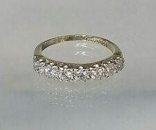 Vintage 1/2 Eternity Ring 9ct Yellow Gold 0.8ct Diamond Simulant Sz K. REAL GOLD