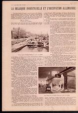 WWI Quai d'Ougrée-Marihaye Sidérurgie Acier houille Belgique  1919 ILLUSTRATION
