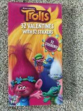 Nip 32 Trolls Valentine Cards & Stickers - Kids School Valentine Days Party