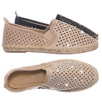 Movie Espadrille Slip On Flats w Rhinestone -  Round Toe Cutout Loafer Shoes