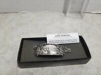 Scotch Bottle Decanter Tag Thistle Cuff Bracelet, Fine Pewter Jewelry Grapes