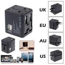 Dual USB to AU/US/UK/EU AC Power Plug Universal World Travel Adapter Converter