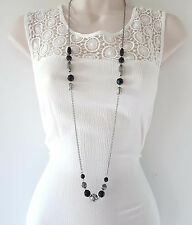 "Gorgeous boho style 40"" long silver tone chain & black bead necklace"