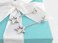 TIFFANY & CO SILVER STAR LARIAT DANGLE DANGLING EARRINGS BOX POUCH PACKAGING