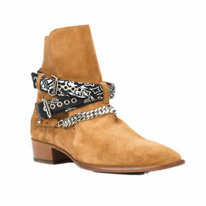 Men's Suede Leather Chelsea Ankle Boots Shoes Pointy Toe Buckle Chain Business