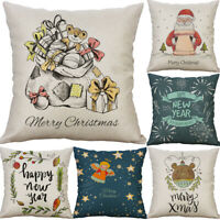 "18"" Happy New Year Throw Sofa Home Decor Pillow Case Cotton Linen Cushion Cover"
