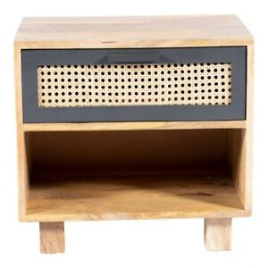 """19"""" W Conner Nightstand Woven Cane Drawer Front Hand Crafted Solid Mango Wood"""