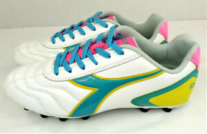 Diadora Women's Capitano LT MD PU W ,Leather Cleats White/Teal/Yellow/Pink, 8 M