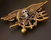 Skull Bones US Navy SEALS Special Warfare SEAL Team Trident Insignia Antique Pin