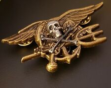 Skull Bones Us Navy Seals Special Warfare Seal Team Trident Insignia Antique Pin