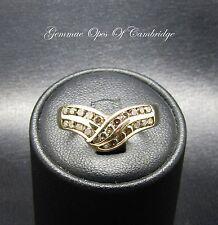 9K Gold 9ct gold Half Eternity 0.6ct Diamond Wishbone Ring Sz O 2.25g Champagne