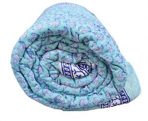 New Indian Handmade Cotton Winter Reversible Blanket Quilt Throw Razai Twin Size