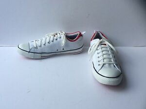 White CONVERSE All Star Low Ox Trainers with Red Trim, Size: UK 10    EU 44