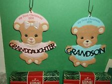 LOT 2~VINTAGE GRANDSON, GRANDDAUGHTER 1ST CHRISTMAS ORNAMENT W/BOX~'91~HALLMARK