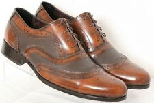 Bespoke Brown Leather Distressed Brogue Dress Wingtip Oxfords Men's US 11
