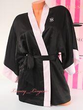 VICTORIA'S SECRET VS logo Belt Pockets Kimono Robe OS One Size Black NWT