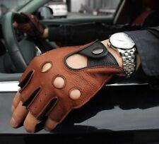 Winter Men Genuine Leather Gloves Driving Unlined Half Finger Mens Gloves
