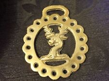 COLLECTABLE GENUINE VINTAGE HORSE BRASS GAME STAG HEAD IN CENTRE PIERCED RIM