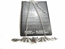 gothic extra long wings bat  necklace with red eyes intricate design