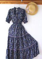 New~$148~Blue Peasant Prairie Western Garden Smocked Boho Dress~Size Large L