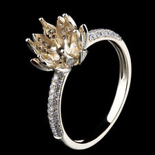 Round Lotus Flower 7-8mm Semi Mount Diamond Engagement Fine Ring 10K Yellow Gold