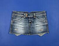 Up star mini gonna jeans donna usato M hot sexy skirt denim blu woman used T5553