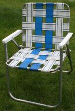 Vintage Mid Century Aluminum Chair Folding Lawn Patio Sunbeam Webbing Blue/White