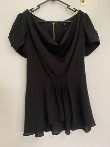 Portmans Black Drape Cowl Neck Peplum Top Fits Size 8-10