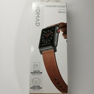 New! NOMAD Modern Strap Rustic Leather Apple Watch Band 38mm Brn/Blk  NEW IN BOX