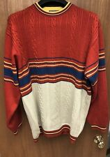 Vintage Mens Roger Kent Striped Sweater Large Red/yellow 80s UK