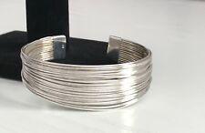 925 Sterling Silver Multi Strands Cuff Bangle Bracelet Heavy 27.12g