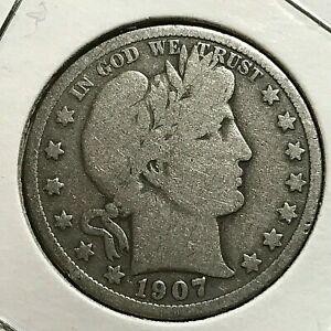 1907-D  SILVER BARBER HALF DOLLAR  COIN