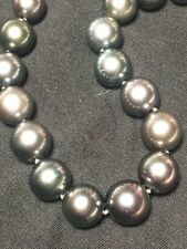 "Tahitian Pearls Graduated Necklace 14k WG Clasp Metallic Chocolate 17"" Round"