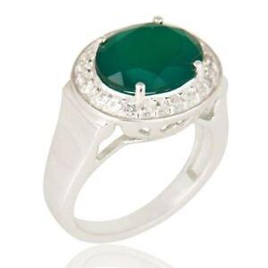.925 Silver Green Onyx, White Topaz Gemstone Ring fashion jewelry