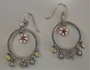 Barse Flower Hoop Beaded Crystal Earrings .925 Sterling Silver Signed Mint!