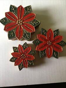 Christmas Poinsettia Boxes Nesting Vintage Walmart (3)