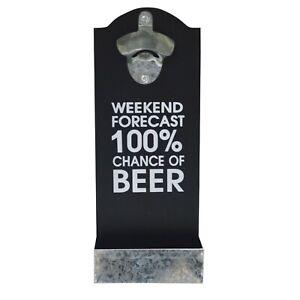 Retro Wall Mounted Hanging 'Weekend Forecast' Beer Bottle Opener & Cap Catcher
