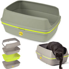 More details for cat litter tray large or jumbo grey scoopless sifting toilet box high sided xl