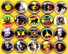 "Bob Marley NEW 20 1"" pins buttons badges rasta peace one love rastafarian reggae"