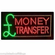 BRAND NEW SHOP FLASHING LED SIGN £ MONEY TRANSFER WINDOW SIGN BOARD