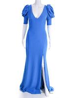 Badgley Mischka Womens Short Puff Sleeve V Neck Front Slit Gown Blue Size 4