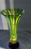 Art Glass Vase In Murano Style Blue Yellow Green