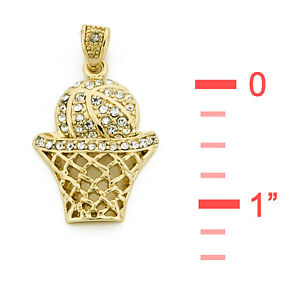"""14K GOLD Dipped Mini Iced Basketball Pendant w 22"""" 2.5mm Rope Chain HC3118"""